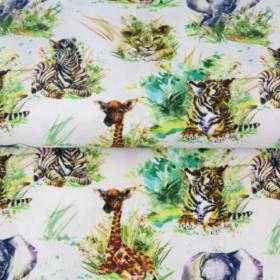 Algodón POPELINA bebes animales de la selva BY STENZO