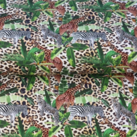 Algodón POPELINA girafa y zebra en la selva BY STENZO