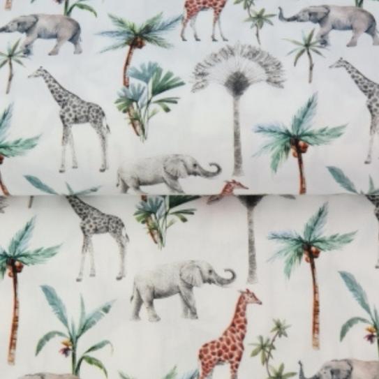 Algodón POPELINA girafa y elefantes en la selva BY STENZO