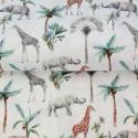 Algodón popelina girafa y elefante en la selva By Stenzo