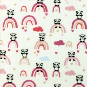 Bambula Algodón panda arco iris rosa