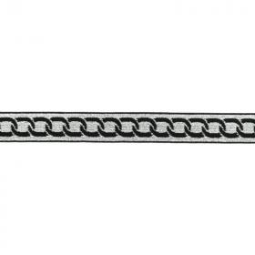 Goma Elástica cadena negra fondo plateado