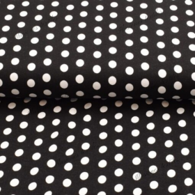 Jersey viscosa estampado lunares negro y blanco